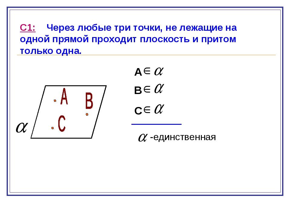 С1: Через любые три точки, не лежащие на одной прямой проходит плоскость и пр...