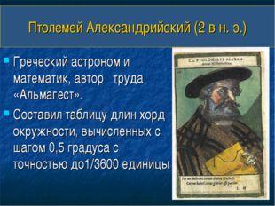 Птолемей Александрийский (2 в н. э.) Греческий астроном и математик, автор тр