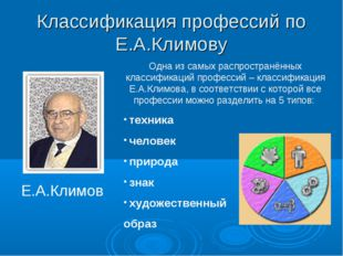 Классификация профессий по Е.А.Климову Е.А.Климов Одна из самых распространён