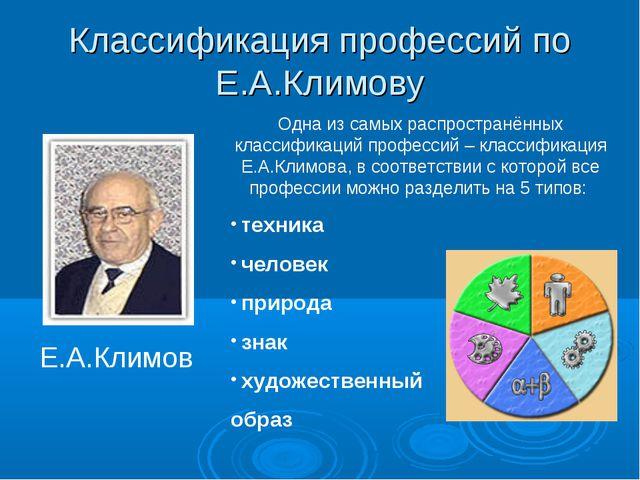 Классификация профессий по Е.А.Климову Е.А.Климов Одна из самых распространён...