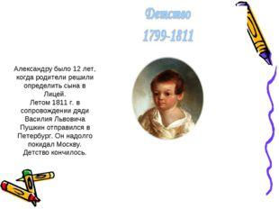 Александру было 12 лет, когда родители решили определить сына в Лицей. Летом