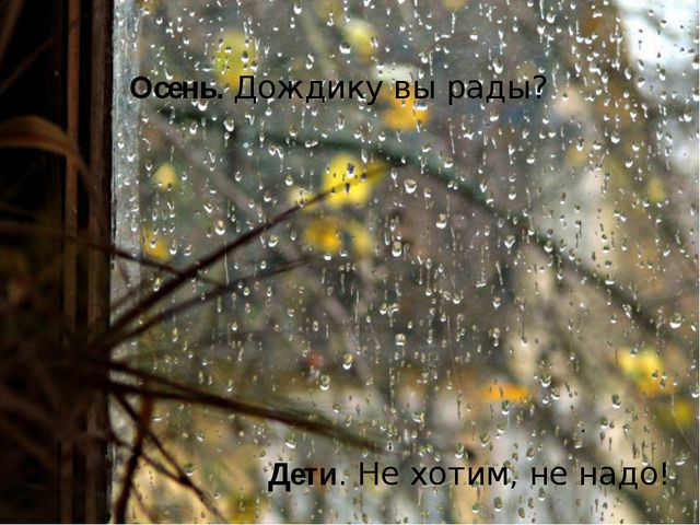 Осень. Дождику вы рады? Дети. Не хотим, не надо!