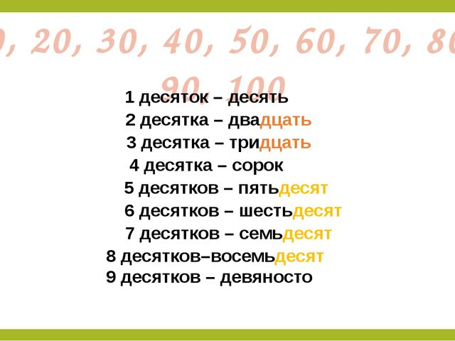 10, 20, 30, 40, 50, 60, 70, 80, 90, 100 1 десяток – десять 2 десятка – двадца...