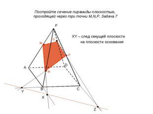 XY – след секущей плоскости на плоскости основания D C B Z Y X M N P S Постро