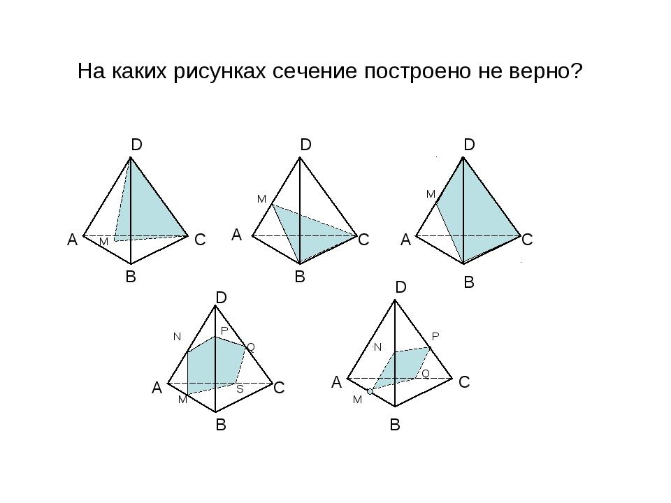На каких рисунках сечение построено не верно? B А А А А А D D D D D B B B B C...
