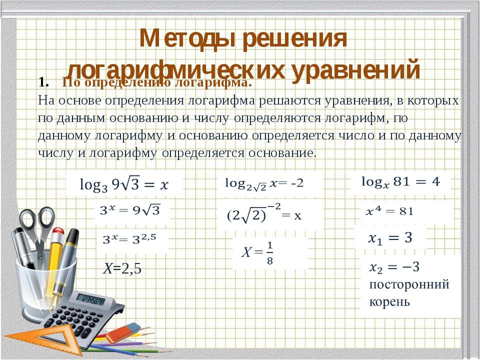 Методы решения логарифмических уравнений По определению логарифма. На основе...