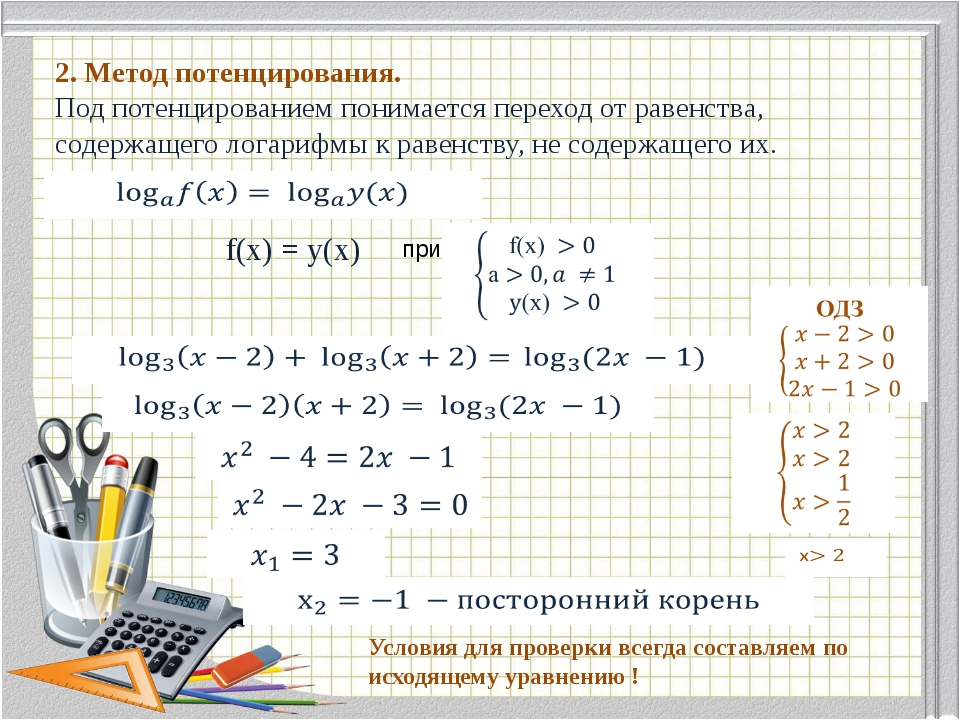2. Метод потенцирования. Под потенцированием понимается переход от равенства...