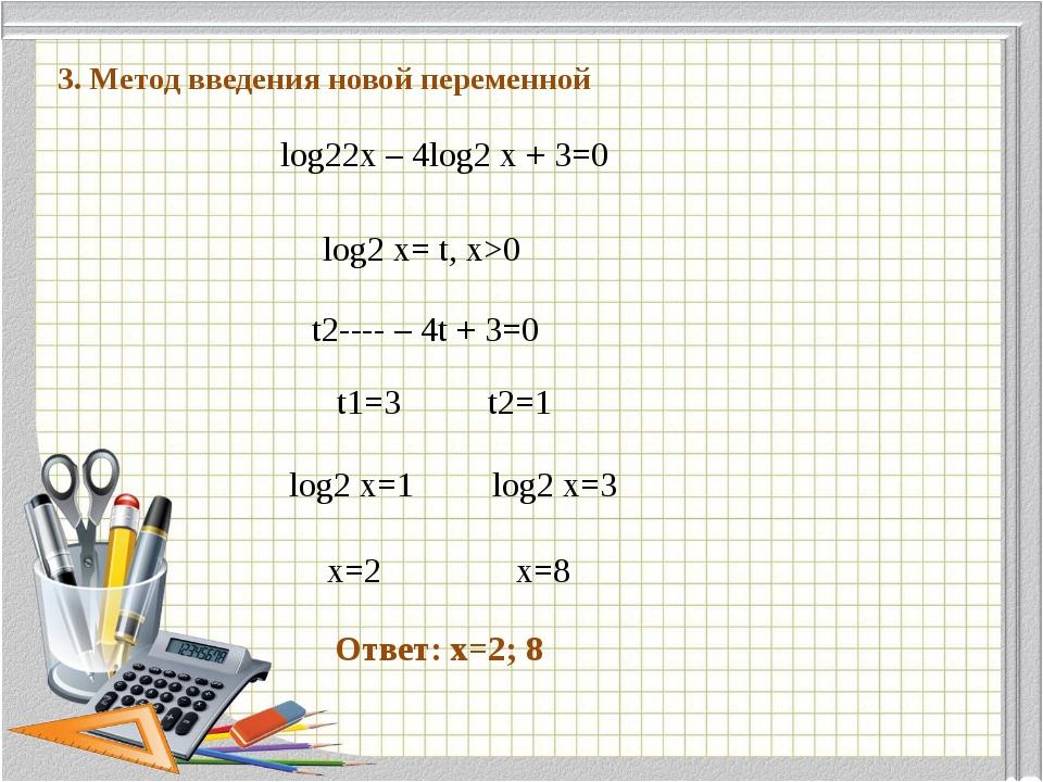 1 3. Метод введения новой переменной log22x – 4log2 x + 3=0 log2 x= t, x>0 t2...