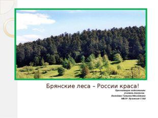 Брянские леса – России краса! Презентацию подготовила учитель биологии Волод