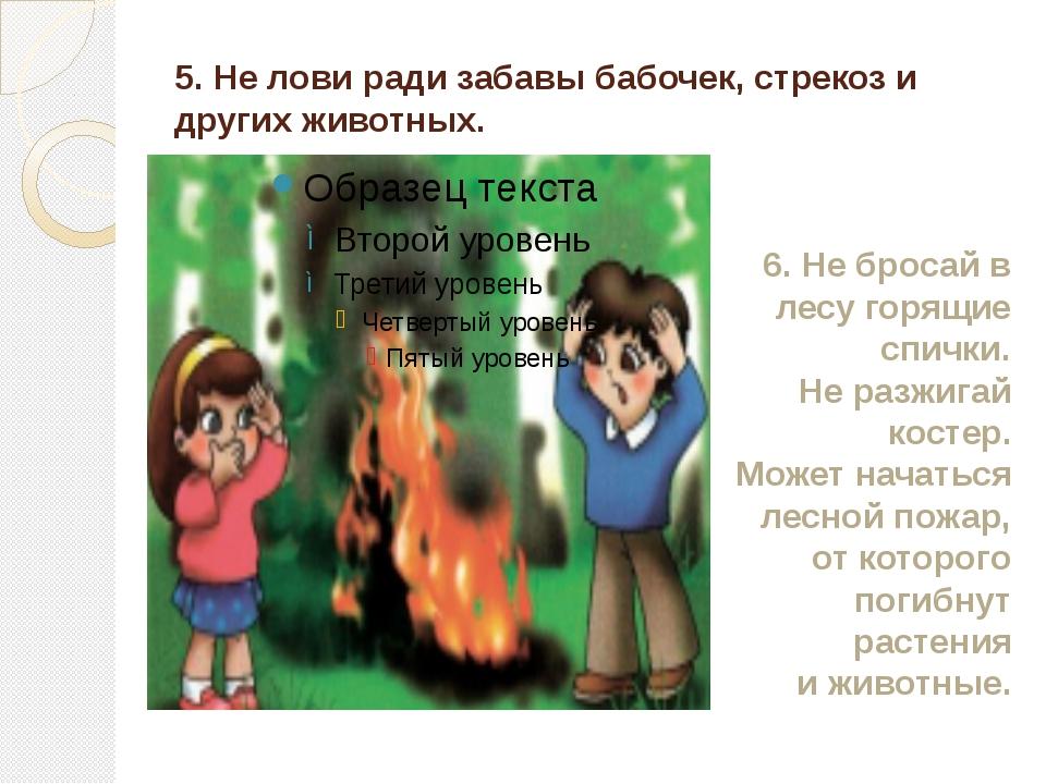 5. Не лови ради забавы бабочек, стрекоз и других животных. 6. Не бросай в лес...