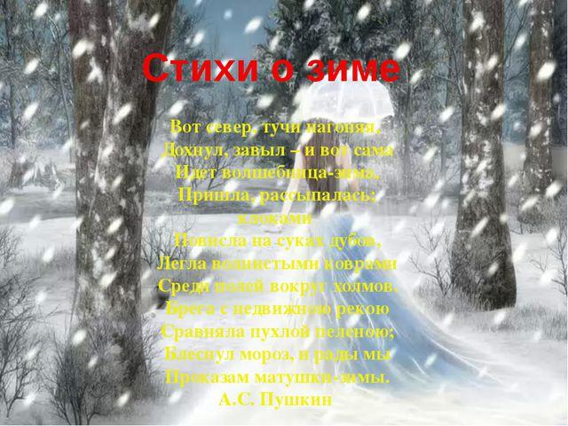 Стихи о зиме Вот север, тучи нагоняя, Дохнул, завыл – и вот сама Идет волшебн...
