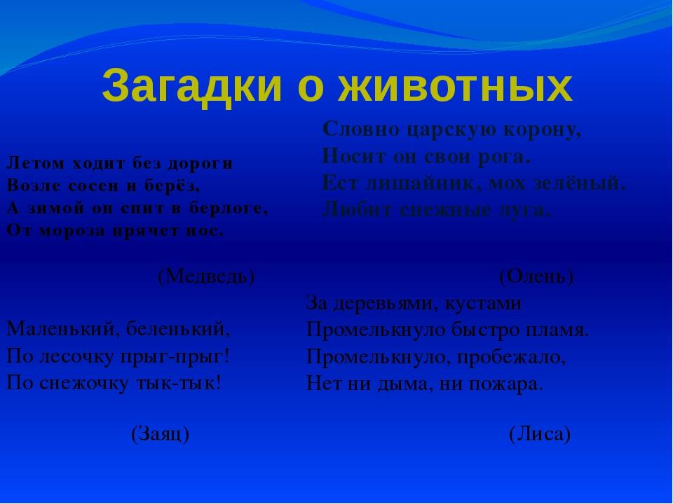 Загадки о животных Летом ходит без дороги Возле сосен и берёз, А зимой он спи...