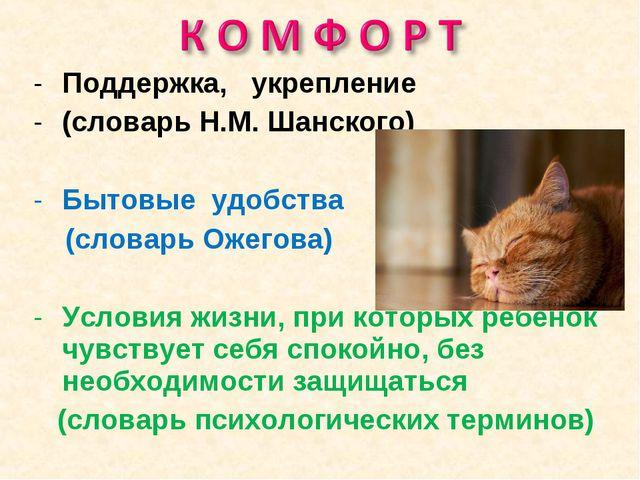 Поддержка, укрепление (словарь Н.М. Шанского) Бытовые удобства (словарь Ожего...