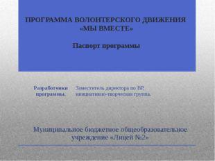 ПРОГРАММА ВОЛОНТЕРСКОГО ДВИЖЕНИЯ «МЫ ВМЕСТЕ» Паспорт программы Муниципальное