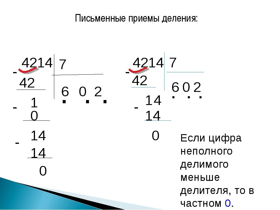 Письменные приемы деления: 4214 7 6 42 0 1 0 - 14 - 2 14 . . . 0 - 4214 7 42...