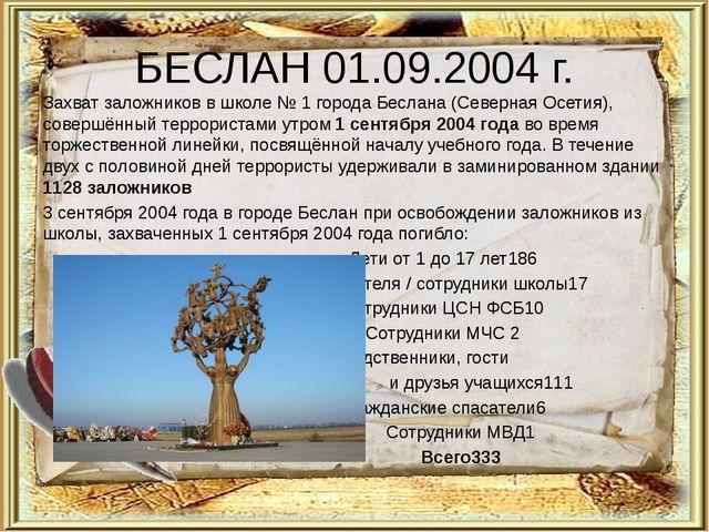 БЕСЛАН 01.09.2004 г. Захватзаложниковв школе №1 городаБеслана (Северная О...