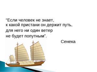 """""""Если человек не знает, к какой пристани он держит путь, для него ни один вет"""