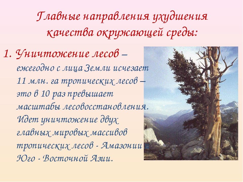 Главные направления ухудшения качества окружающей среды: Уничтожение лесов –...