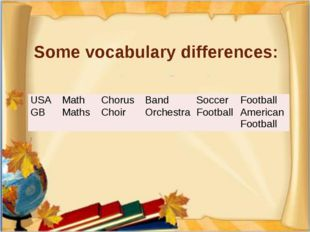 Some vocabulary differences: USA Math Chorus Band Soccer Football GB Maths Ch