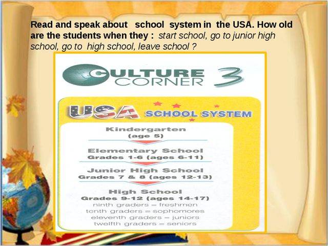 Read and speak about school system in the USA. How old are the students when...