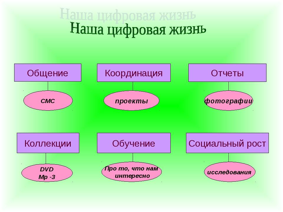 Общение СМС Координация Отчеты проекты фотографии Коллекции Обучение Социальн...