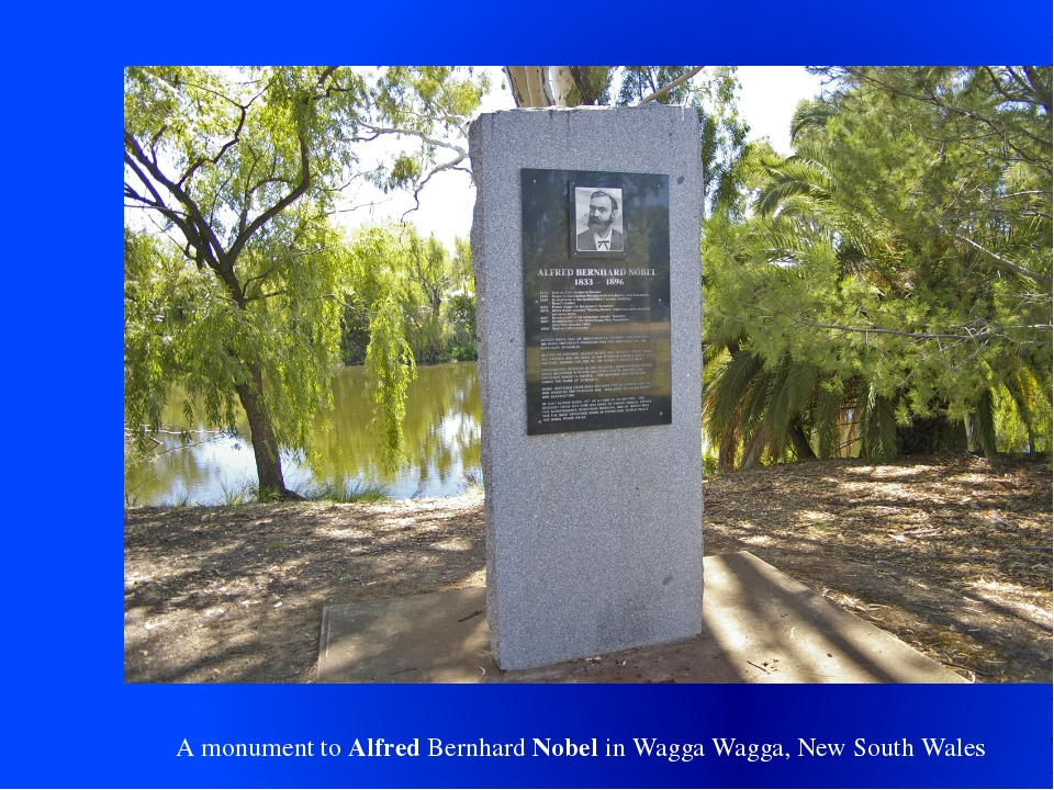 A monument to Alfred Bernhard Nobel in Wagga Wagga, New South Wales