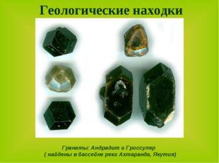 Геологические находки Гранаты: Андрадит и Гроссуляр ( найдены в бассейне реки