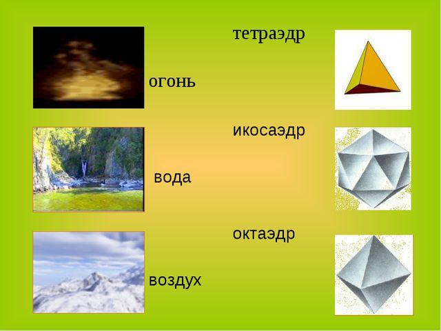 огоньтетраэдр водаикосаэдр воздухоктаэдр