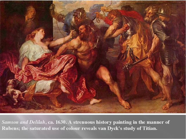 Samson and Delilah, ca. 1630. A strenuous history painting in the manner of R...