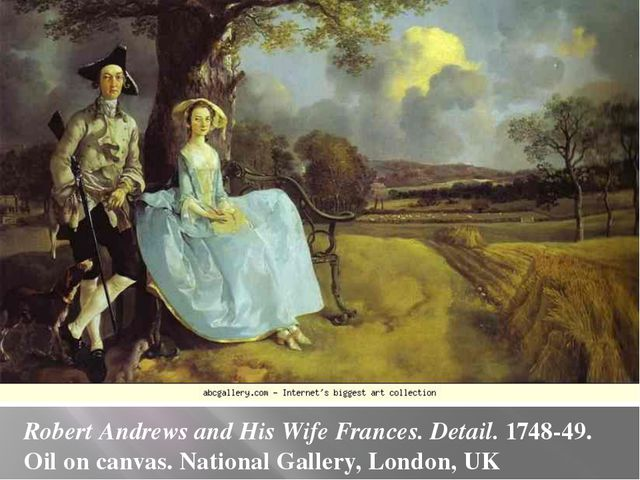Robert Andrews and His Wife Frances. Detail. 1748-49. Oil on canvas. National...