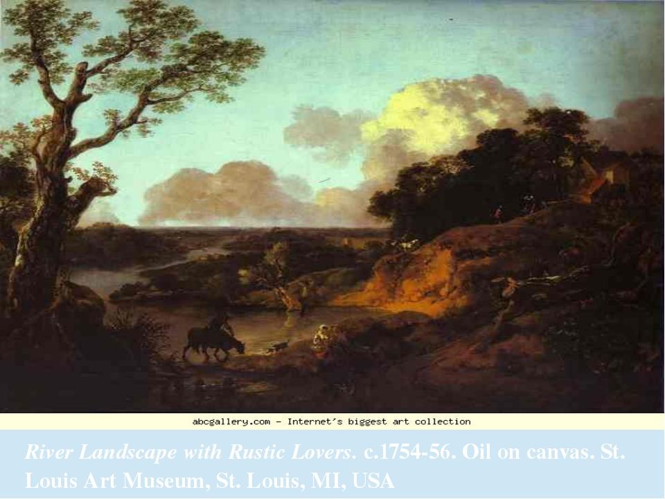 River Landscape with Rustic Lovers.c.1754-56. Oil on canvas. St. Louis Art M...
