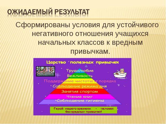 Сформированы условия для устойчивого негативного отношения учащихся начальных...