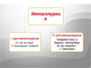 Металлургия Қара металлургия Fe және оның құймаларын өндіреді. Түсті металлу