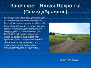 Зацепное – Новая Покровка (Семидубравное) Через один километр по селу дорога