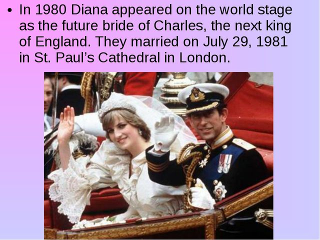 In 1980 Diana appeared on the world stage as the future bride of Charles, the...