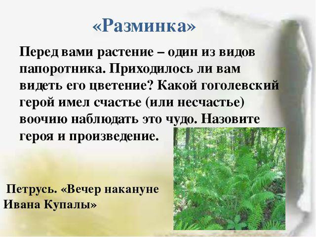 «Разминка» Перед вами растение – один из видов папоротника. Приходилось ли ва...