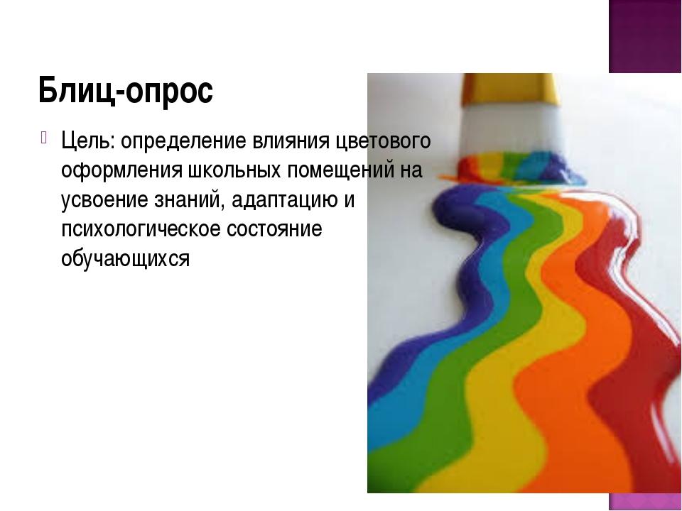 Блиц-опрос Цель: определение влияния цветового оформления школьных помещений...