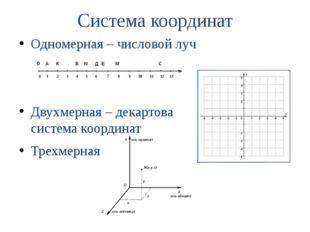 Система координат Одномерная – числовой луч Двухмерная – декартова система ко