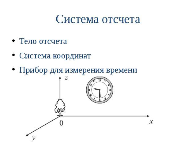 Система отсчета Тело отсчета Система координат Прибор для измерения времени