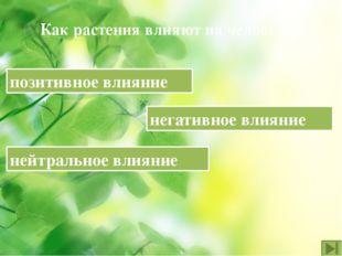 Как растения влияют на человека? позитивное влияние нейтральное влияние негат