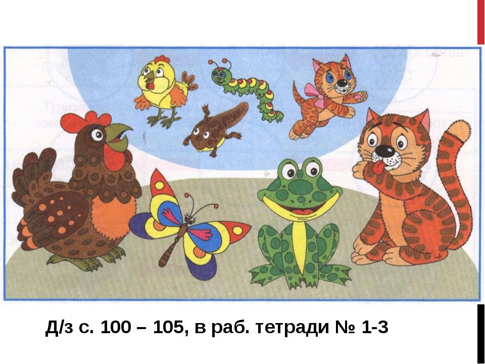 Д/з с. 100 – 105, в раб. тетради № 1-3