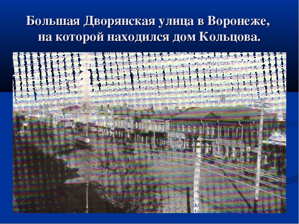 Большая Дворянская улица в Воронеже, на которой находился дом Кольцова.