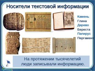 Носители текстовой информации Камень Глина Дерево Папирус Пергамент Береста