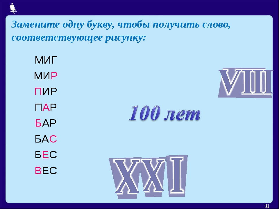 Замените одну букву, чтобы получить слово, соответствующее рисунку: * МИГ МИР...
