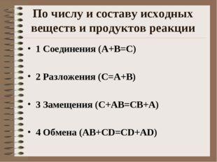 По числу и составу исходных веществ и продуктов реакции 1 Соединения (А+В=С)