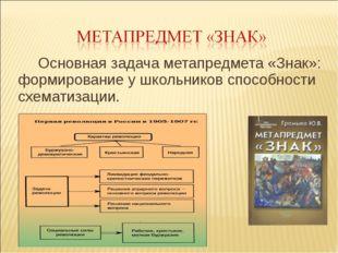 Основная задача метапредмета «Знак»: формирование у школьников способности сх