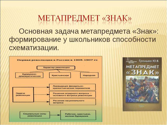 Основная задача метапредмета «Знак»: формирование у школьников способности сх...
