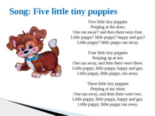 Song: Five little tiny puppies Five little tiny puppies Peeping at the door;