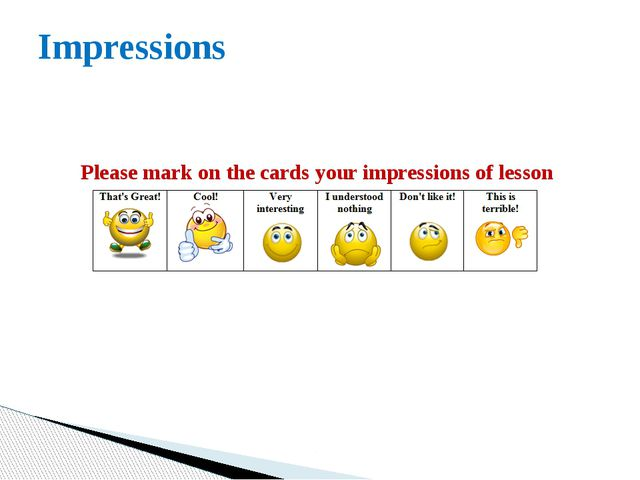 Impressions Please mark on the cards your impressions of lesson