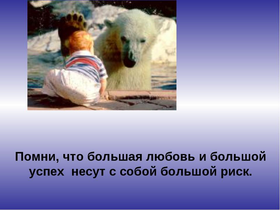 Помни, что большая любовь и большой успех несут с собой большой риск.